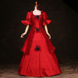 Black Vintage Gothic Rococo Ball Gown Adult Halloween Party Dresses Women Baroque Colonial Masquerade Victorian Dress Costume #dressesfromthesouthernbelleera