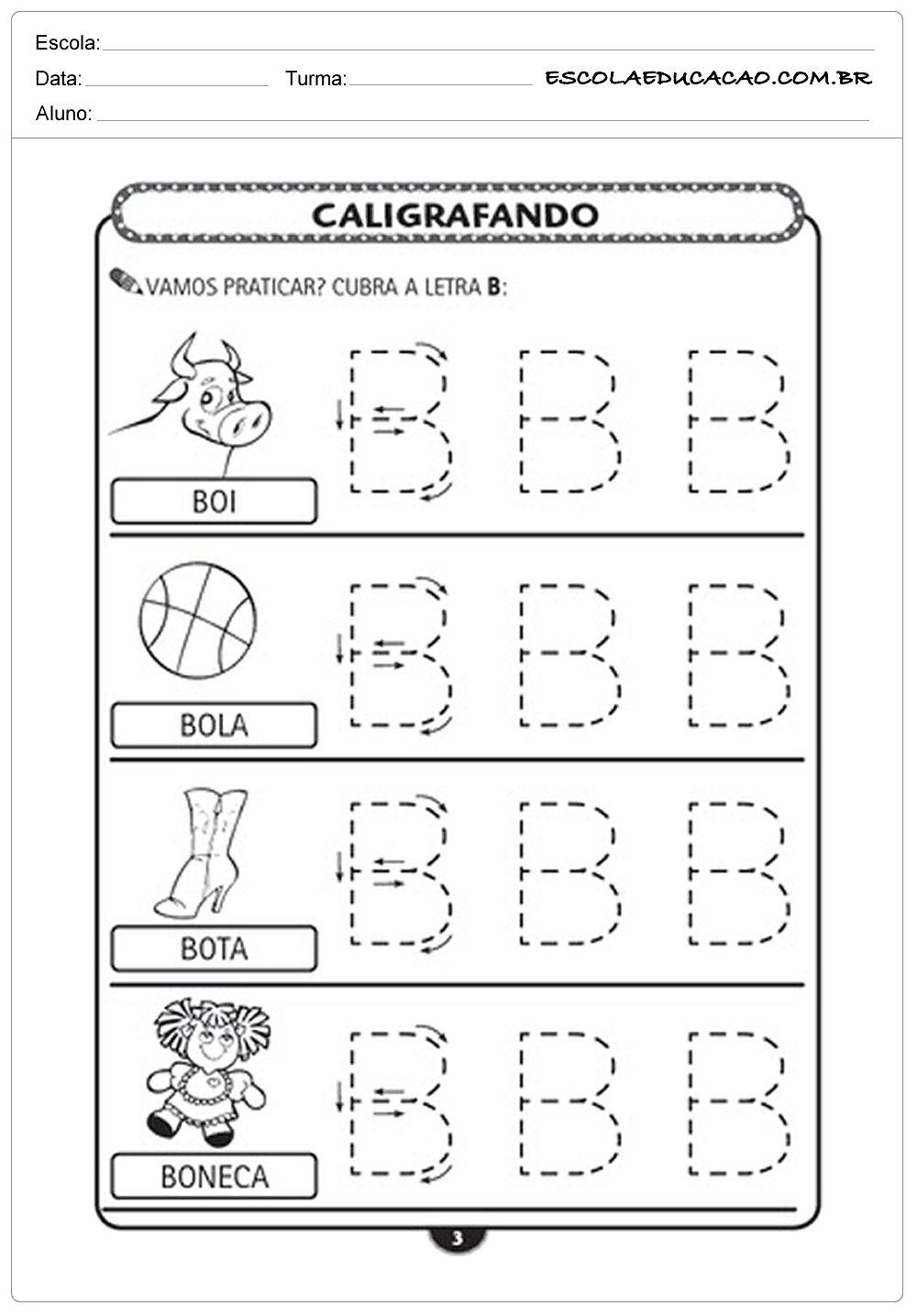 Imprimir Atividade De Caligrafia Letra B Atividades De