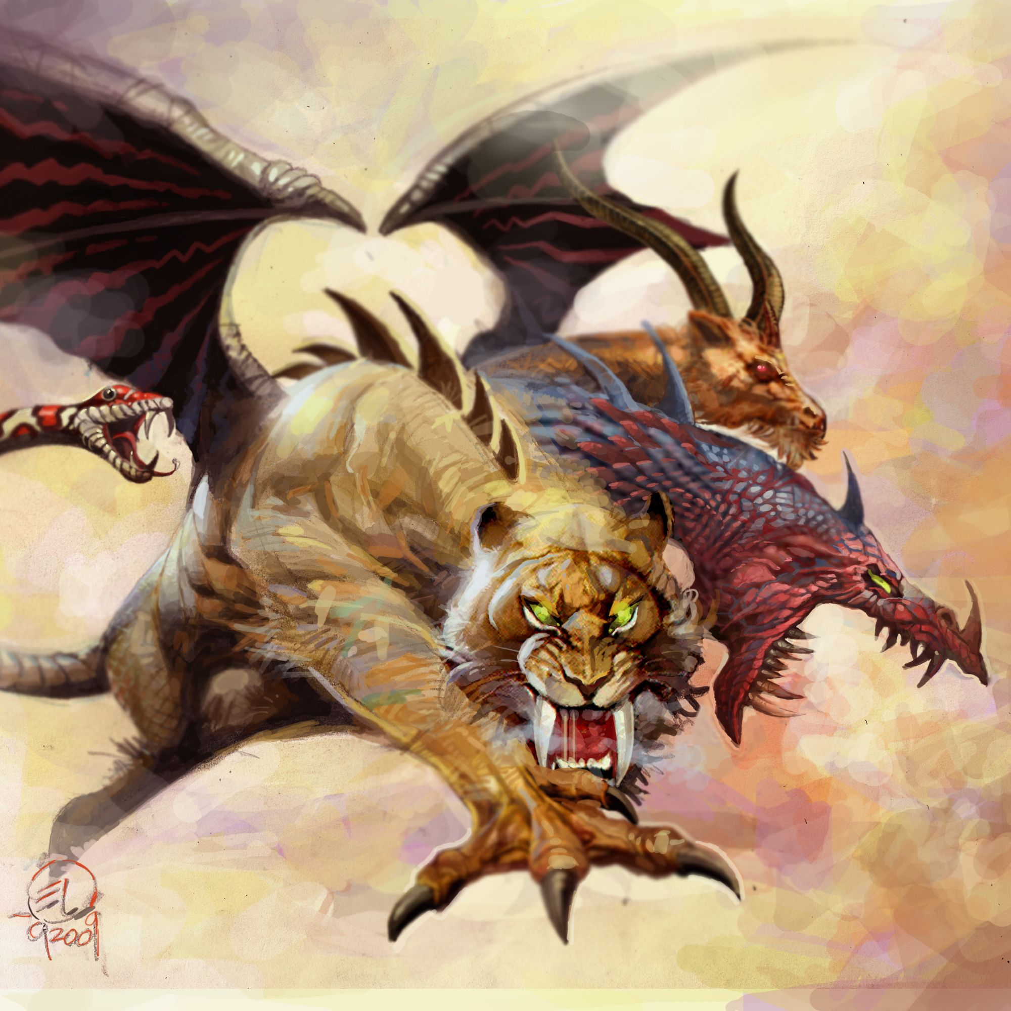 Dragon From Greek Mythology: Chimera Lion Goat Snake (sometimes Bat, Dragon, And/or