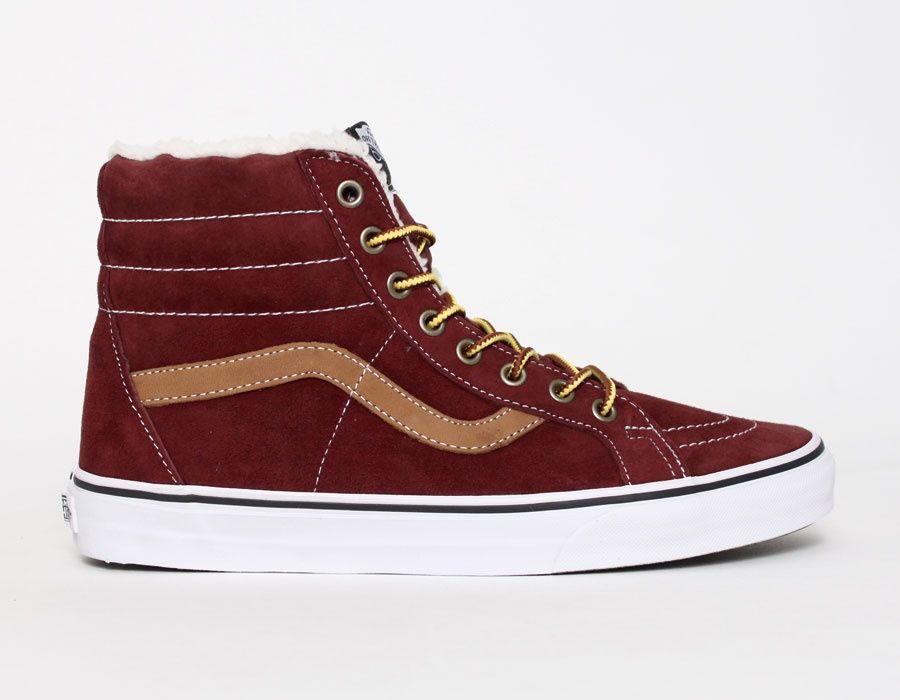 76bab7092ca Vans Sk8 Hi Fleece Burgundywith fur #Sneakers   Fashion I guess ...