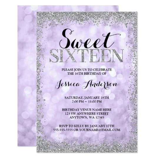 Modern purple and silver glitter sweet 16 birthday party invitations.