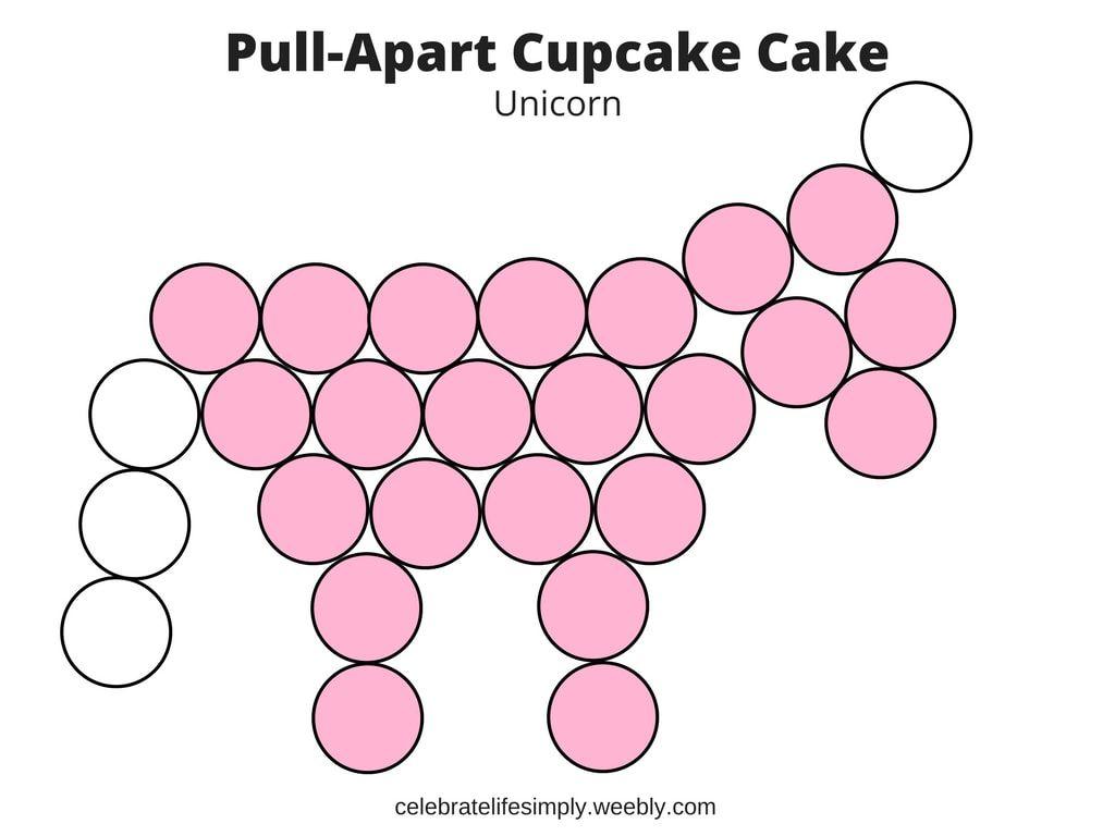 Unicorn Pull-Apart Cupcake Cake Template   Pull apart cupcake cake ...