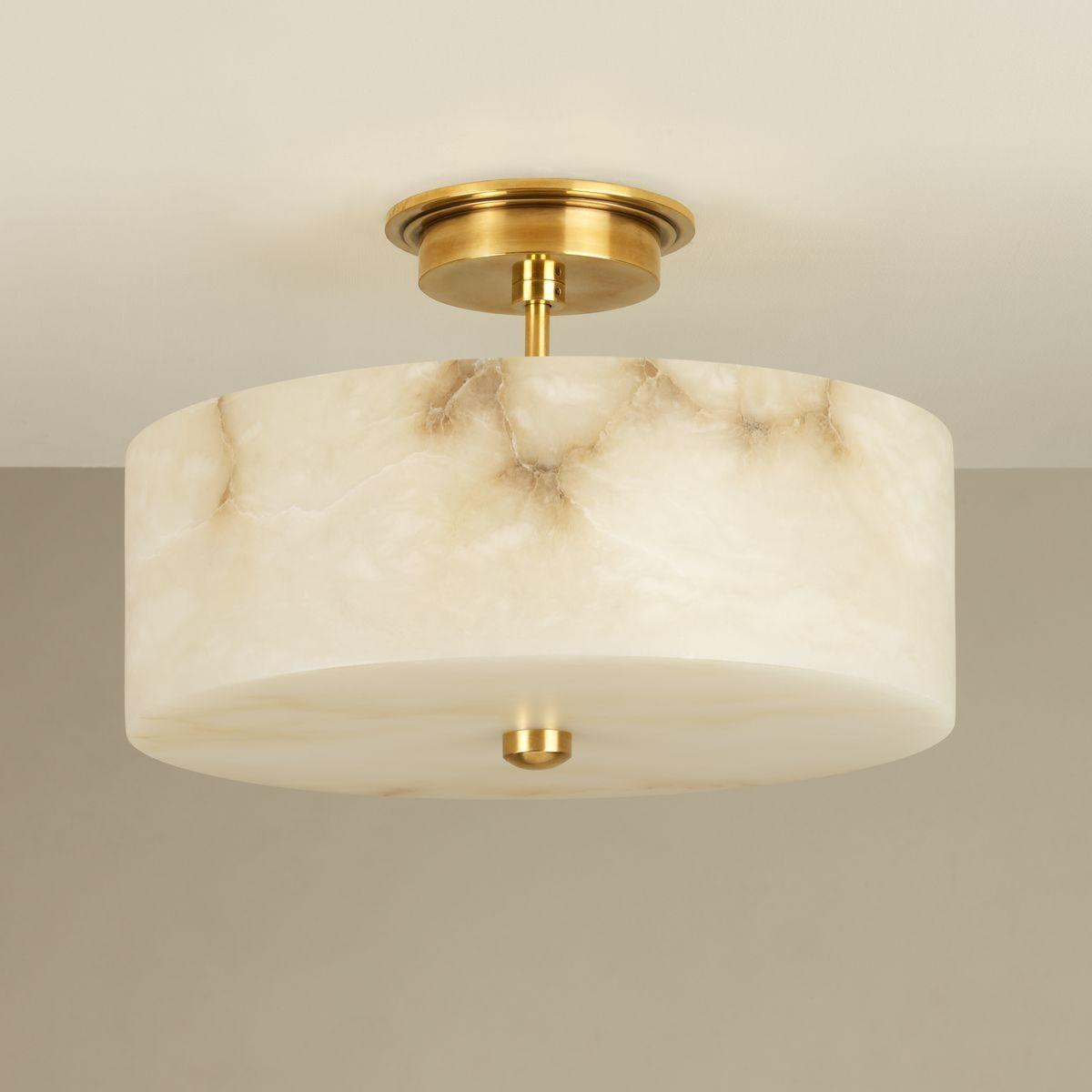 Buy Weston Alabaster Semi Flush Light Brass By Vaughan Designer Lighting From Dering Ha Flush Lighting Semi Flush Ceiling Lights Light Fixtures Flush Mount