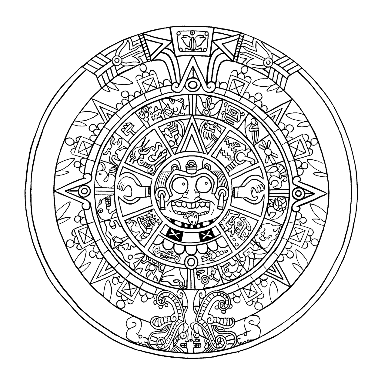 MayanCalendar how to draw mayan calendar page 2 Coloring