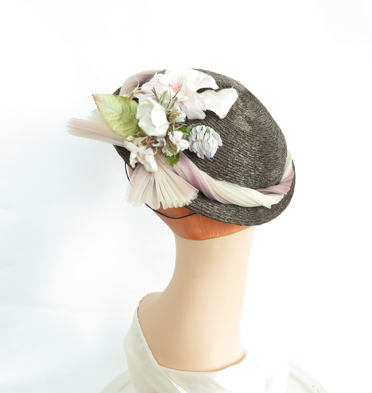 Brown Vintage Hat Woman S 1940s Tilt Pink Flowers Hats Vintage Brown Hats Hat Shop