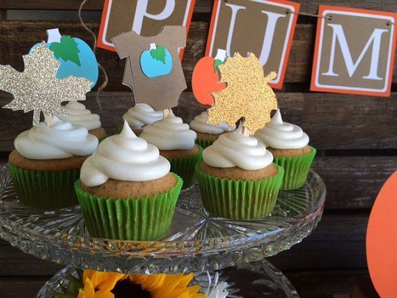 Little Pumpkin Fall Babyshower Cupcake Toppers by BlueOakCreations