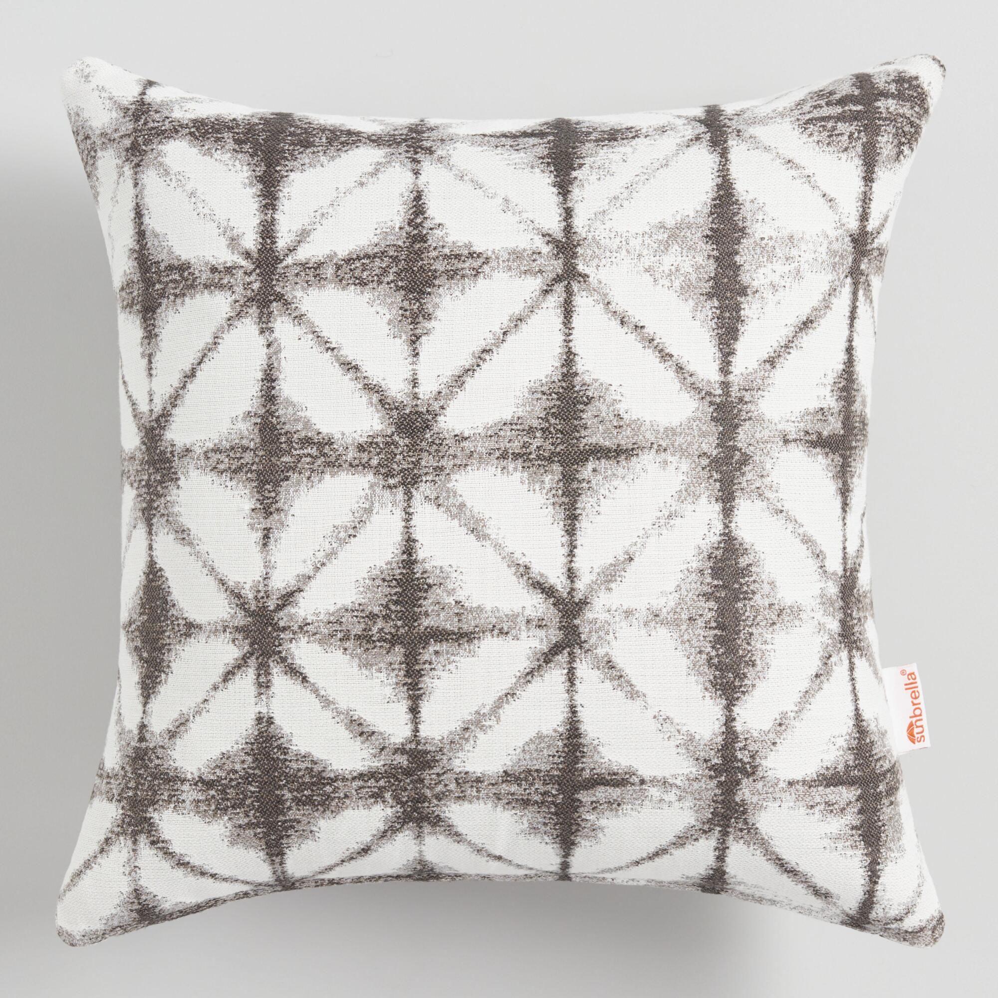 Sunbrella Gray Tile Outdoor Patio Throw Pillow By World Market