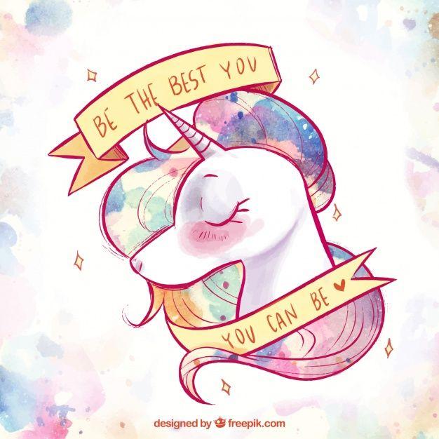 Fondo de bonito unicornio de acuarela y cinta con mensaje Vector ...