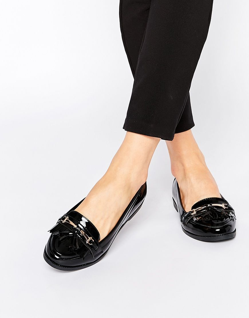 d43fc300f08 New Look Wide Fit Patent Fringed Loafer