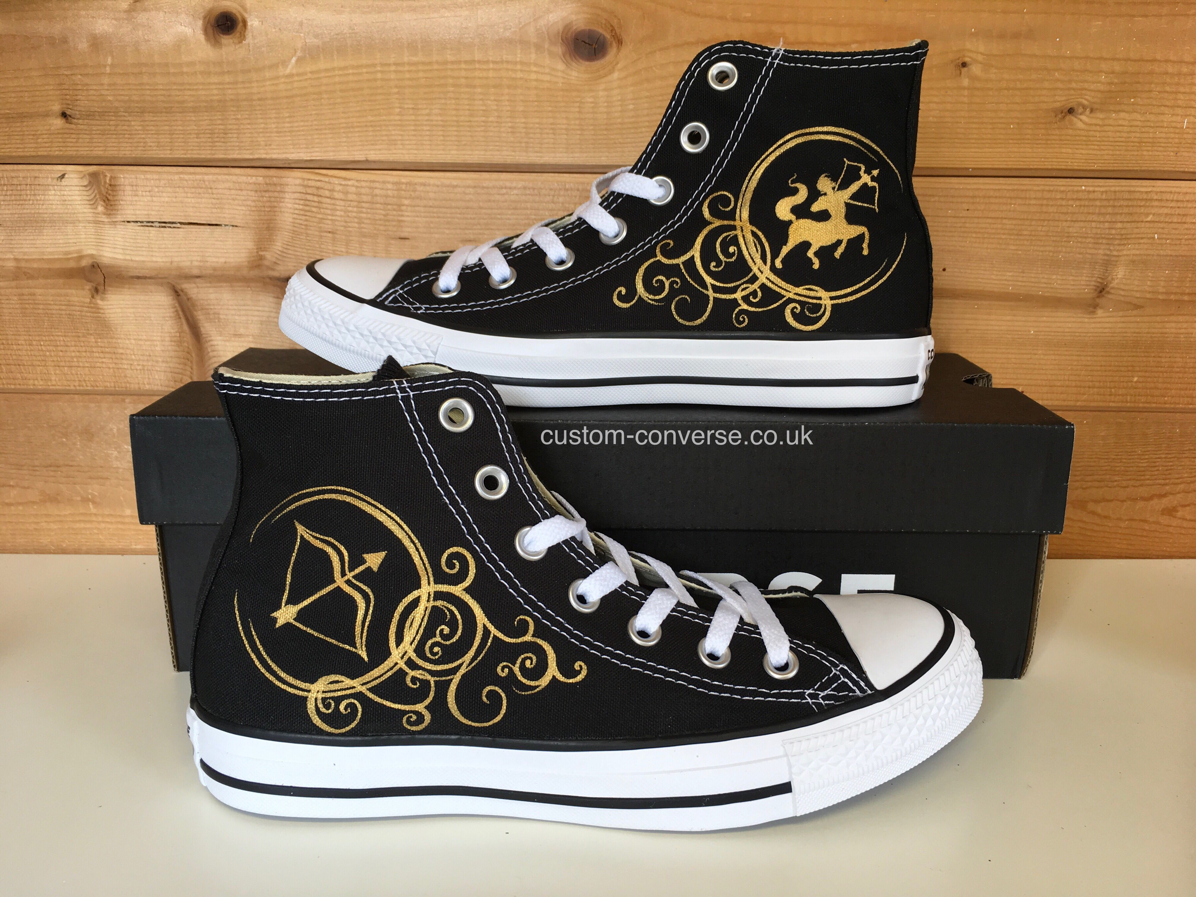 02f9da53e841 Hand painted Sagittarius design on black high top converse trainers   sagittarius  converse  personalised  giftguide  christmasgifts   handpainted ...