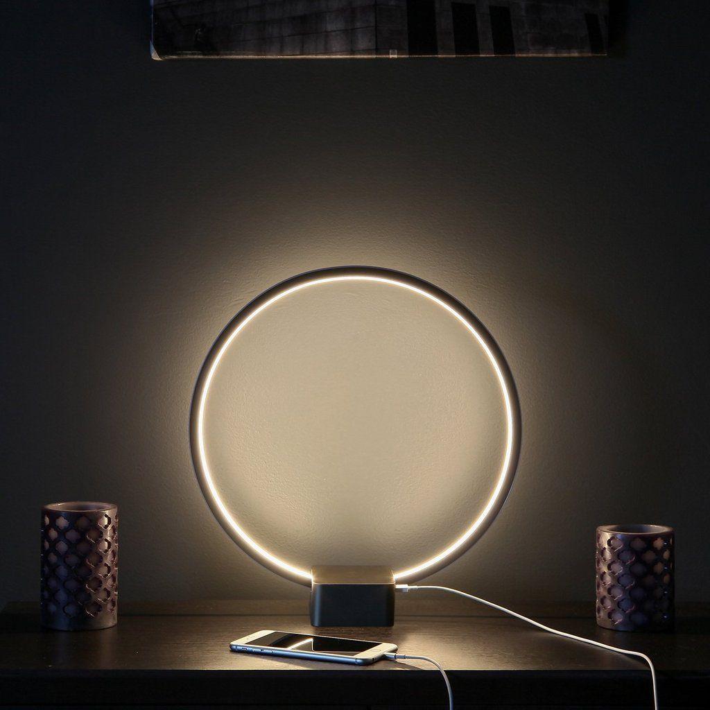 Black Circle Usb Led Table Light Futuristic Desk Lamp For Bedrooms Led Table Lamp Lamp Reading Light