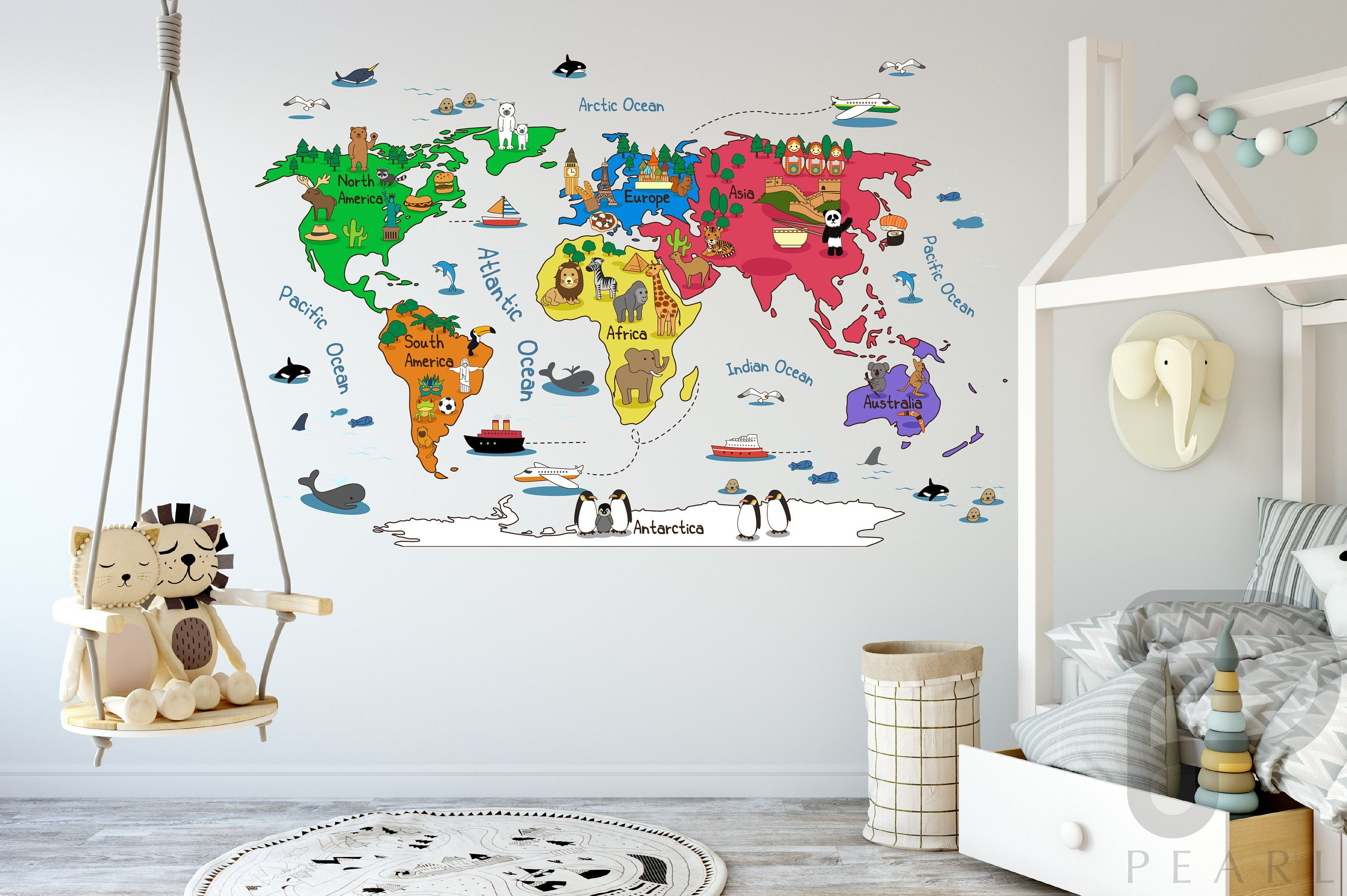 Wall Map Decal Kids World Map Peel And Stick Map Wall Decal