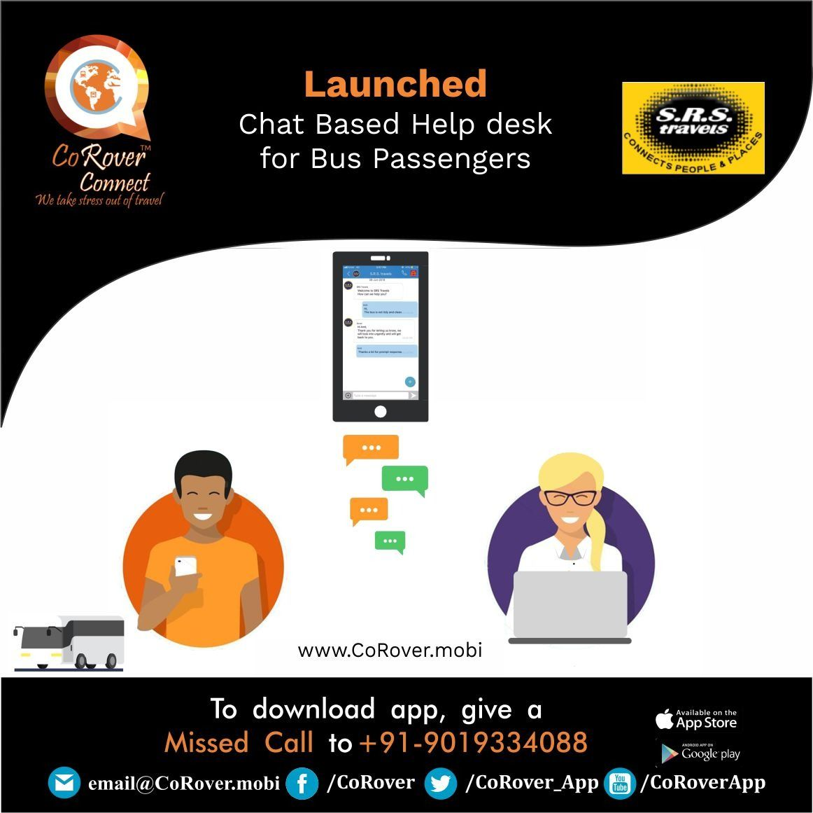 CoRover™ launches Chat Based Helpdesk for Bus Operators in