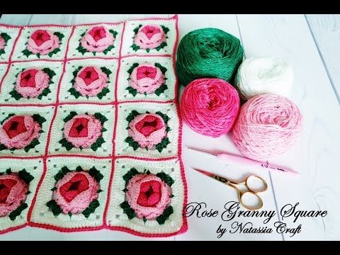 141 Crochet Tutorial Merajut Rose Granny Square By Natassia Craft