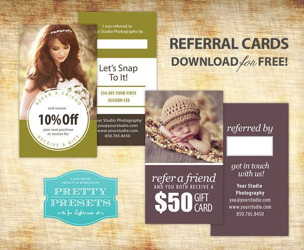 free referral cards for your photography business photoshop