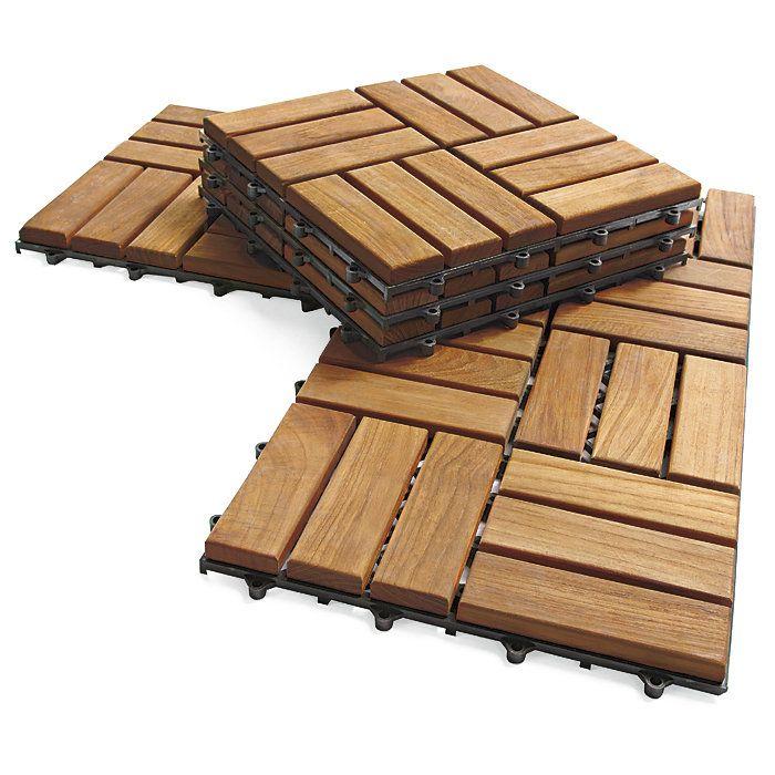 Instant Teak Floor 10 Tile Flooring Kit