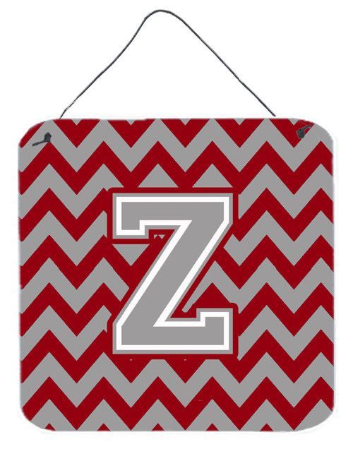 Letter Z Chevron Crimson and Grey Wall or Door Hanging Prints CJ1043-ZDS66