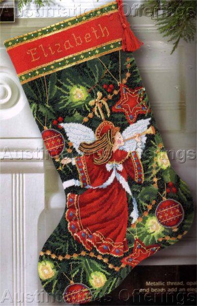Linda Green Herald Angel Christmas Stocking Needlepoint Kit Gold ...
