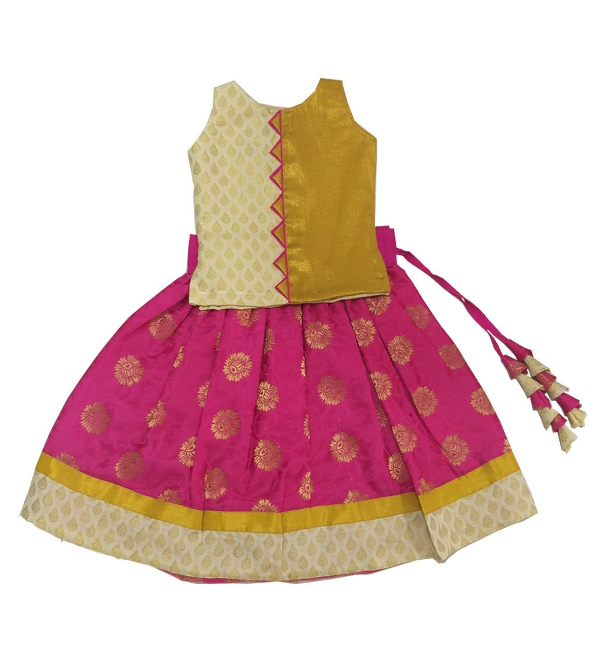 Pattu Pavadai Baby Girls Kids Banarasi Fancy Langa Pink Golden 6 Months To 9 Years Kids Blouse Designs Kids Dress Wear Baby Girl Dress Patterns
