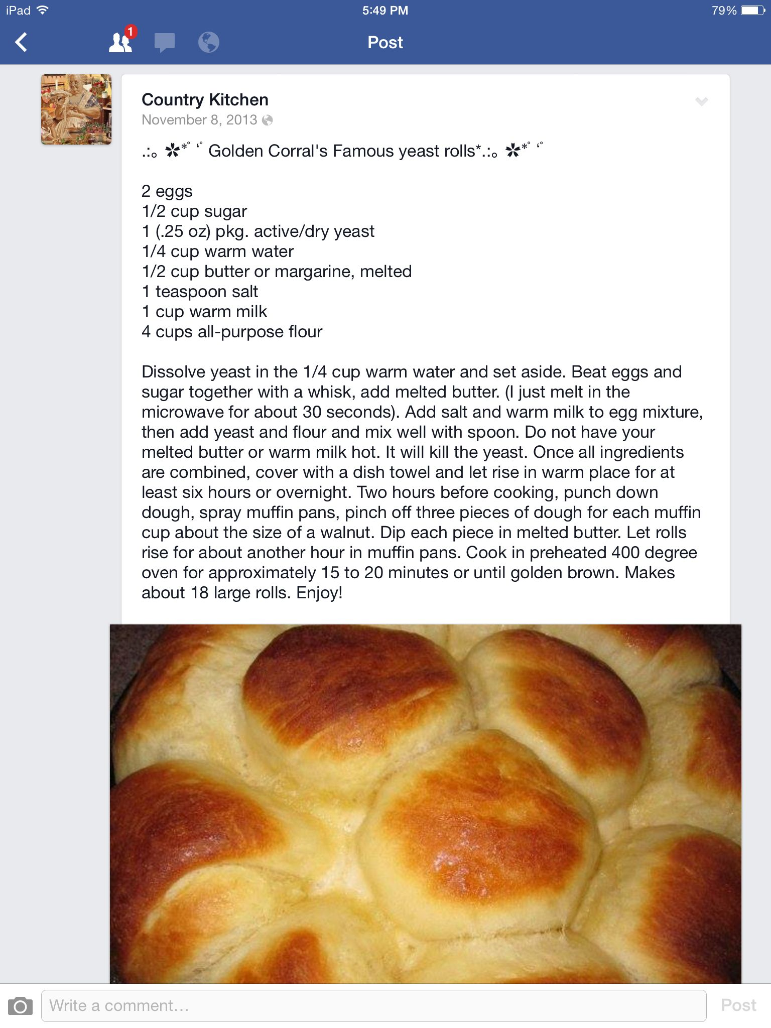 Golden Corral's famous yeast rolls | Yeast rolls, Homemade ...