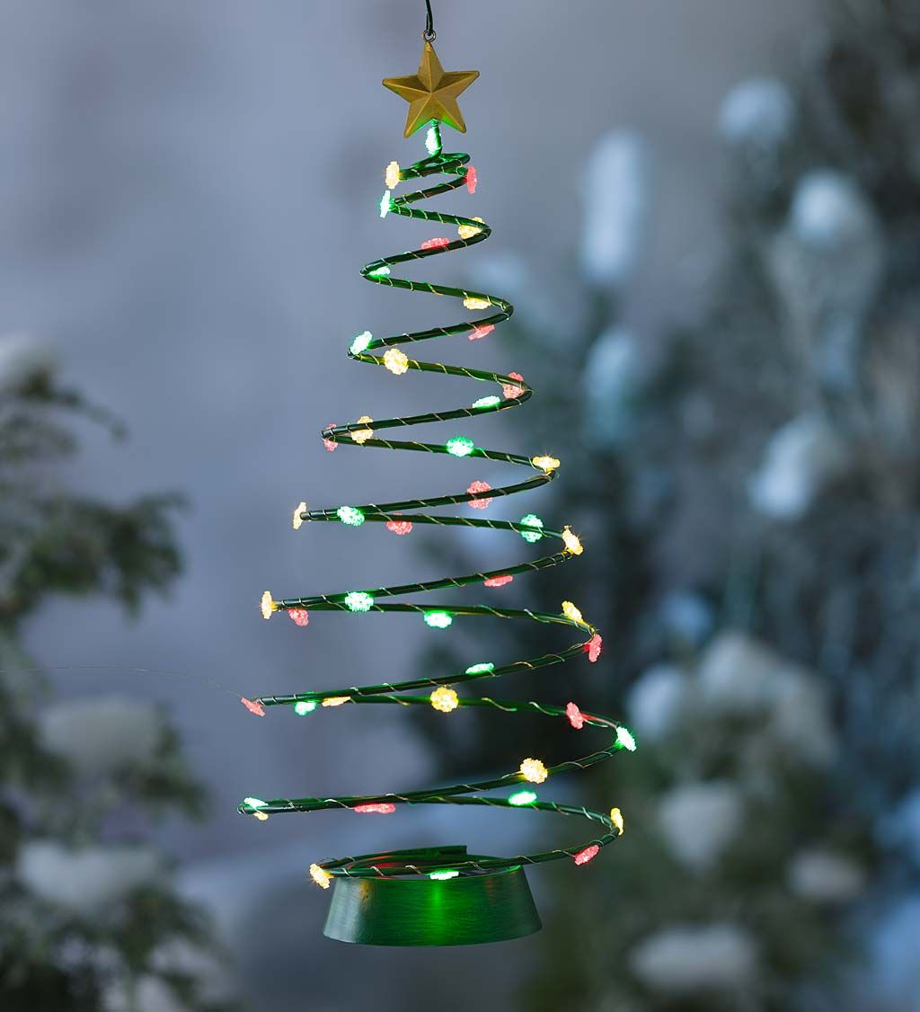 solar lighted christmas tree hanging decoration decorative garden accents - Hanging Lighted Christmas Decorations