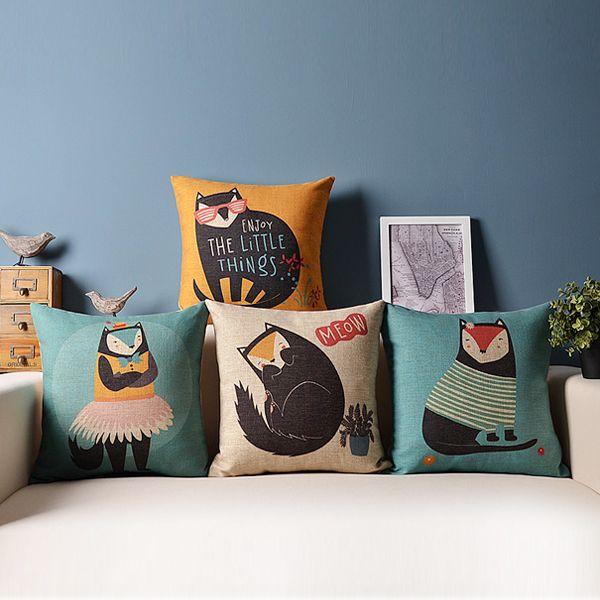 Adorable Fox Ikea Painted English Letters Pillow Cushion Case Cartoon Cushion Cover Car Sofa Cushions 45 45cm 4pcs Lot Pillows 55 96