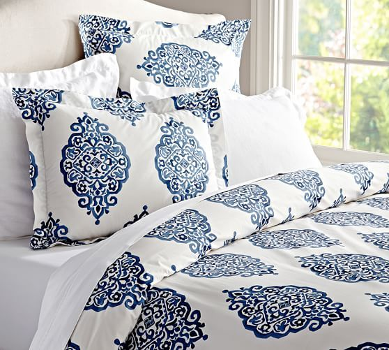 Asher Medallion Organic Percale Duvet Cover Amp Shams Twilight Pottery Barn Dessus De Lit Chambre A Coucher