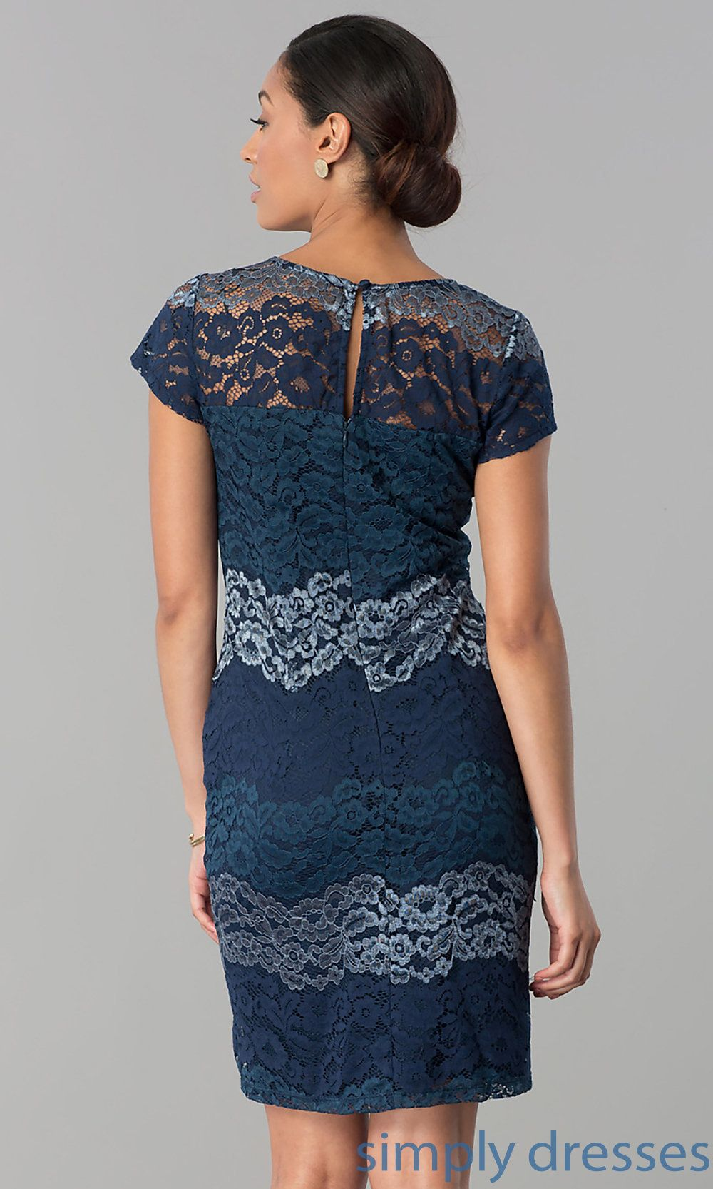 Short sleeve dresses for wedding guests  Short Lace WeddingGuest Party Dress with Sleeves  Фламенко