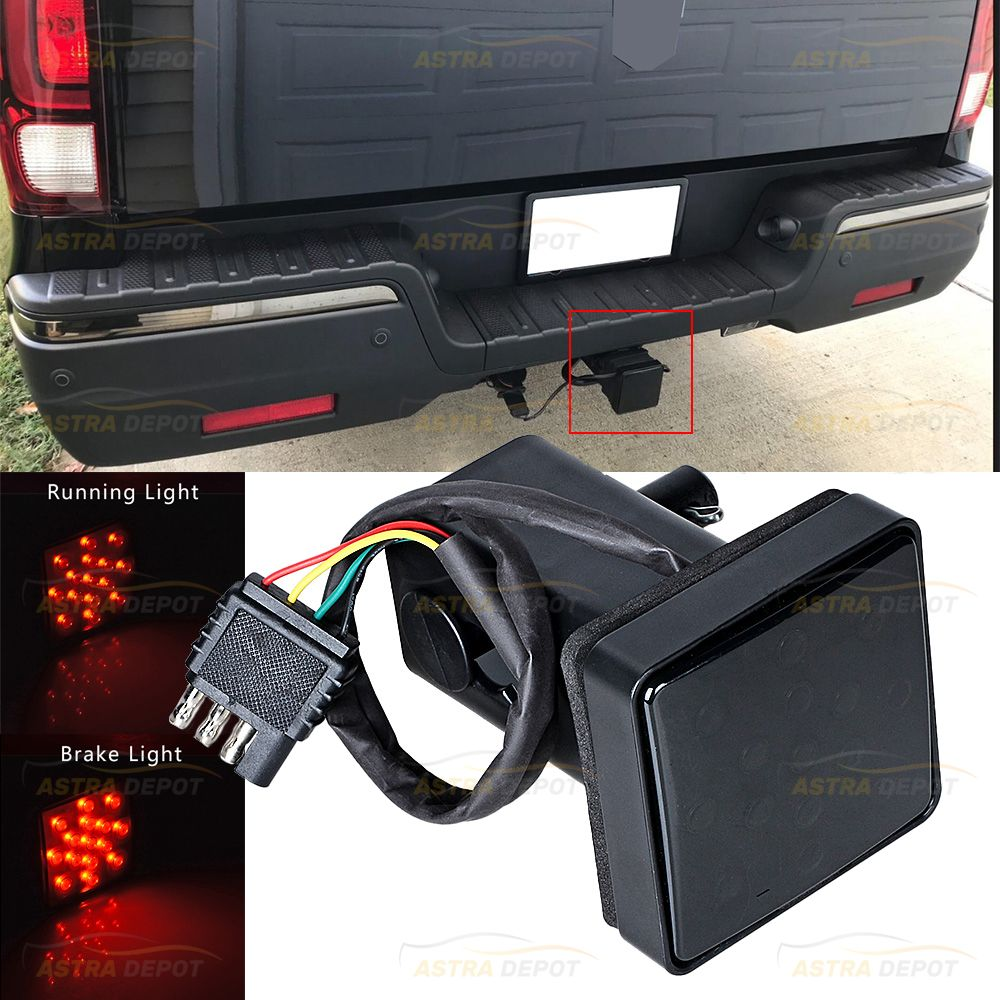15 Led Smoke Lens Red Tail Brake Light With 2 Receiver Cover For Truck Suv Rv 12v Astradepot Brakelight Stoplamp Trailer Hitch Receiver Trailer Hitch Suv