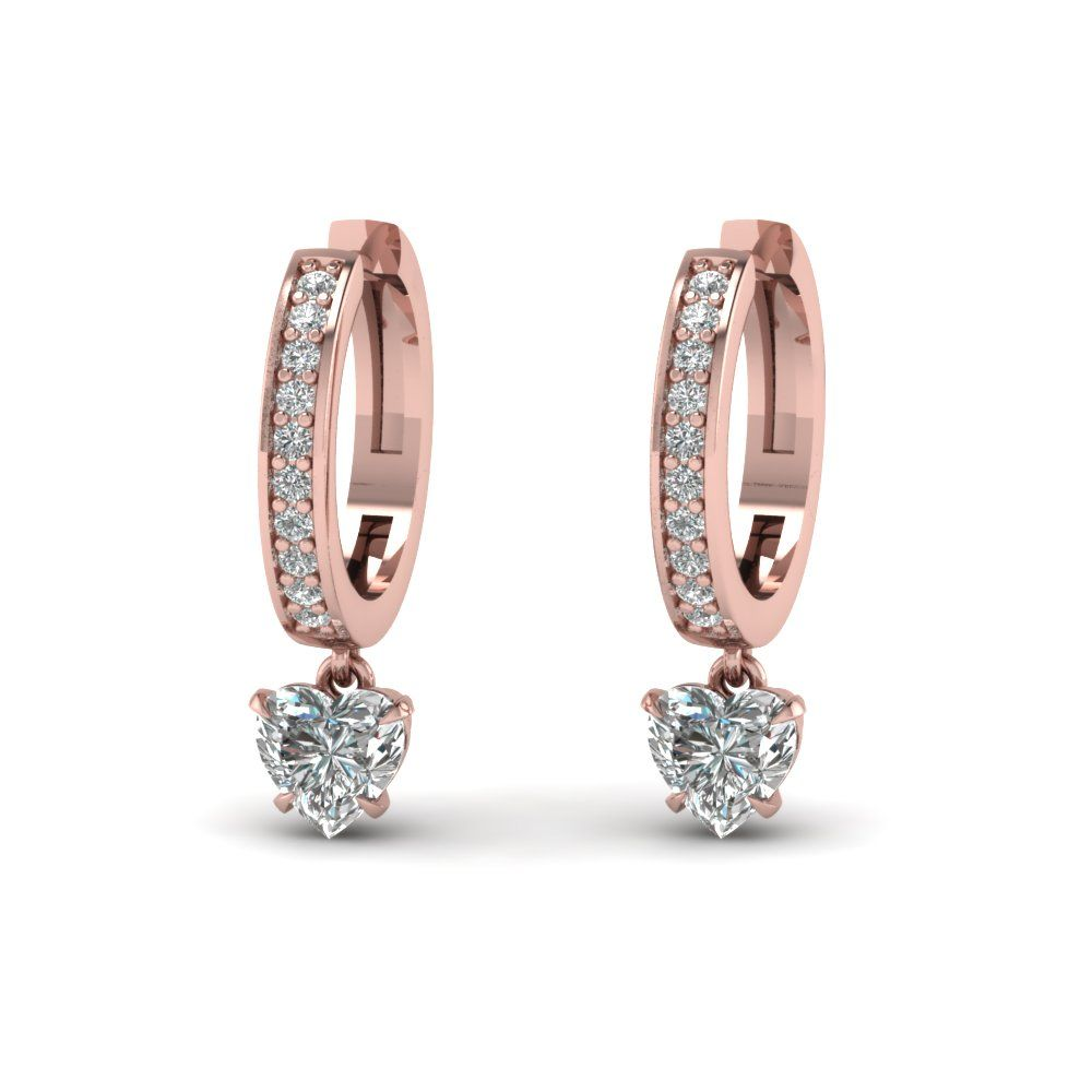 Heart Drop Hoop Earring With Diamonds In 14k Rose Gold Exclusively Styled  By Fascinating Diamonds