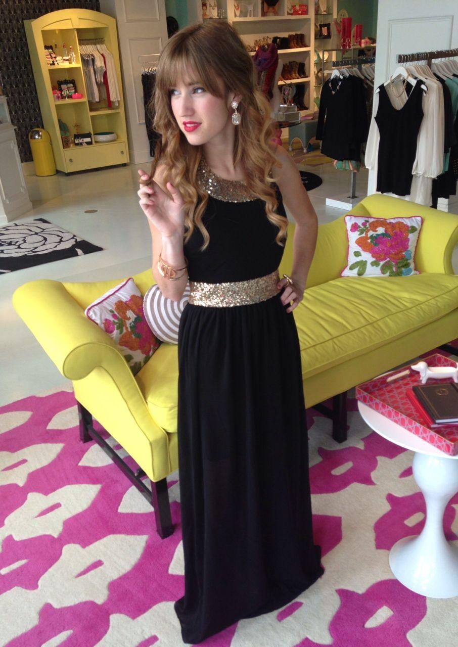 Gold u black sequin maxi dress swoonboutique prom pinterest
