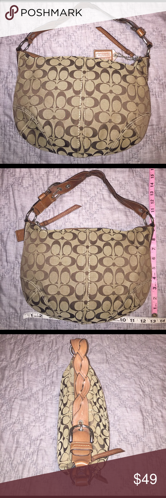 Signature Coach Purse With Braided Leather Handle Braided Leather Leather Handle Coach Purses