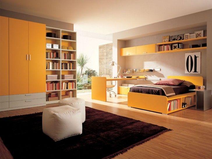 Teen room awesome kids room remodeling ideas with dark brown velvet rugs orange closets massive