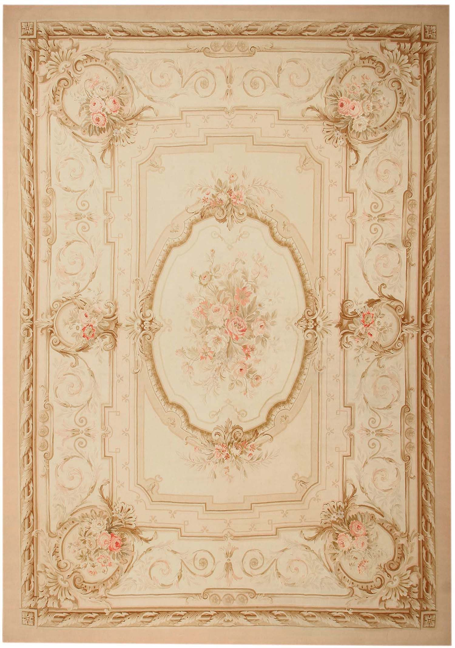 Delightful Antique Aubusson French Rug