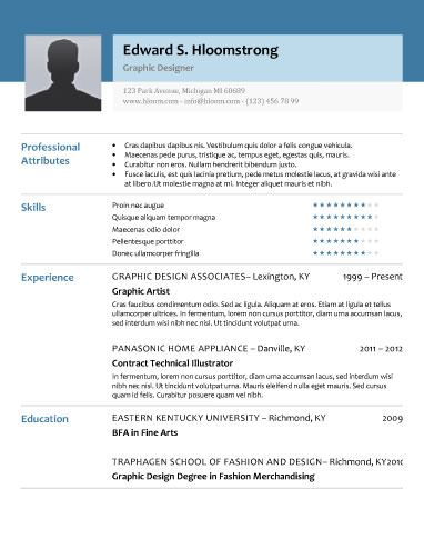 glimmer free resume template by hloomcom - Photo Resume Template