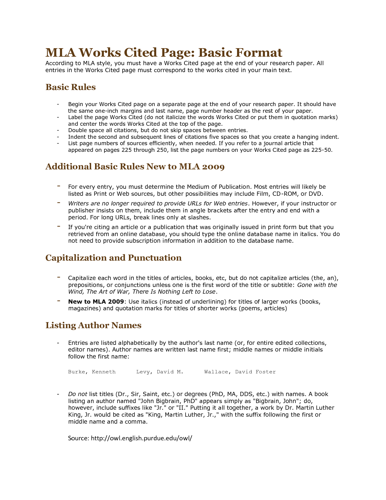 Mla Citation Template