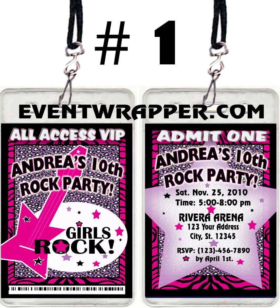 BOYS GIRLS ROCK STAR DIVA VIP PASS INVITATIONS BIRTHDAY PARTY FAVORS #BirthdayChild