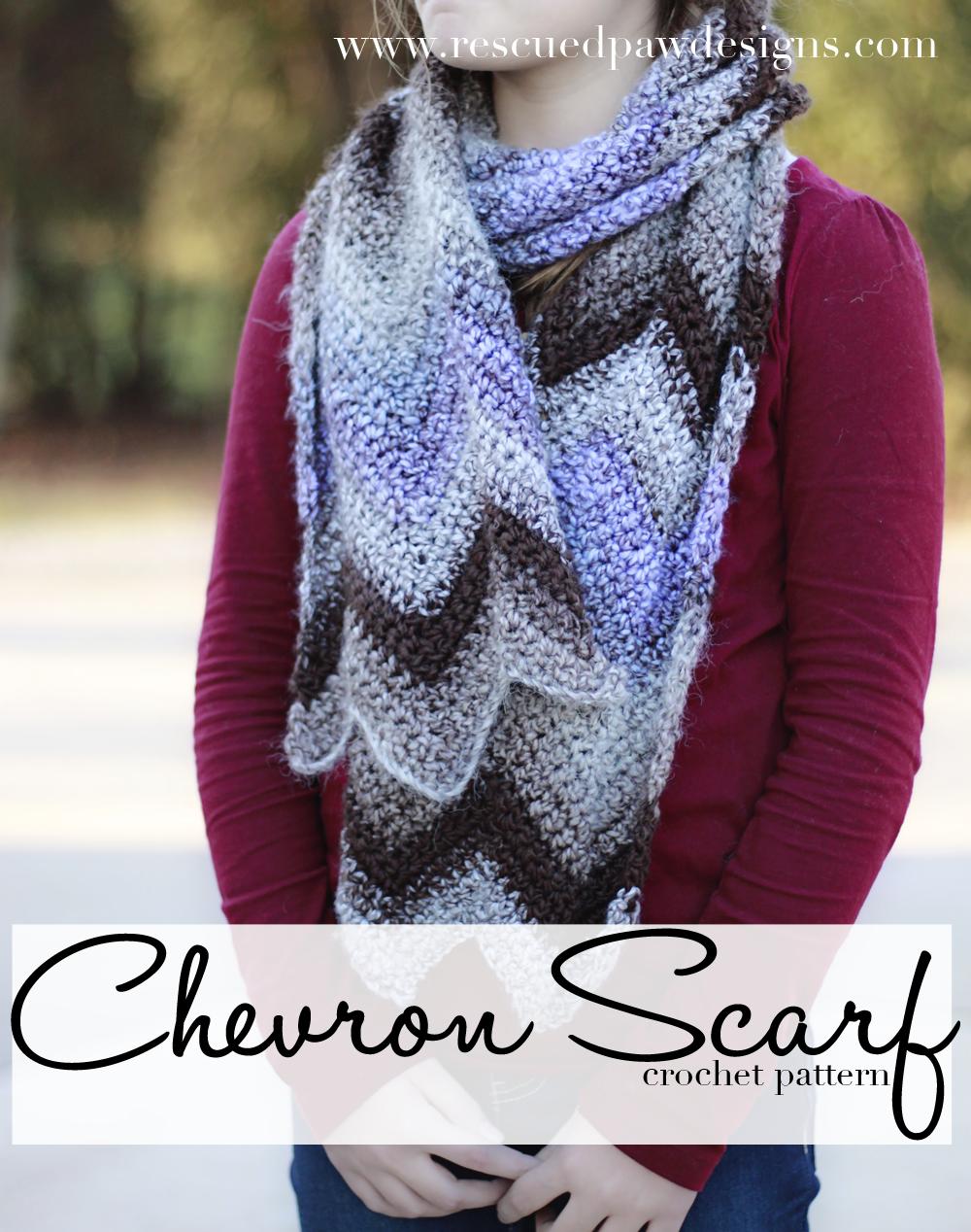 FREE Chevron Crochet Scarf Pattern   Schals tücher, Tücher und Schals