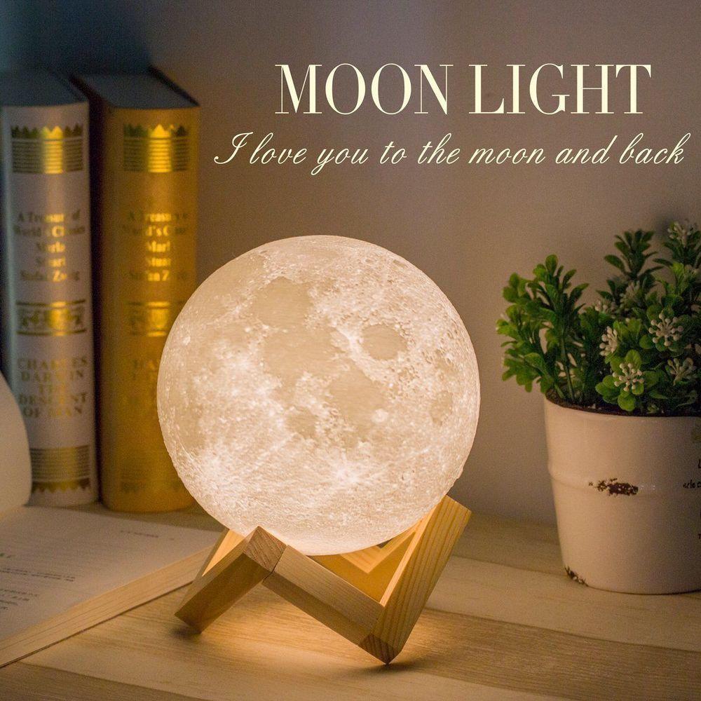 20cm 3d 3 Led Magisch Mond Lampe Nachtlicht Mondlicht Beruhrungssensor Geschenk Mond Lampe Zimmerdekoration Nachtleuchte