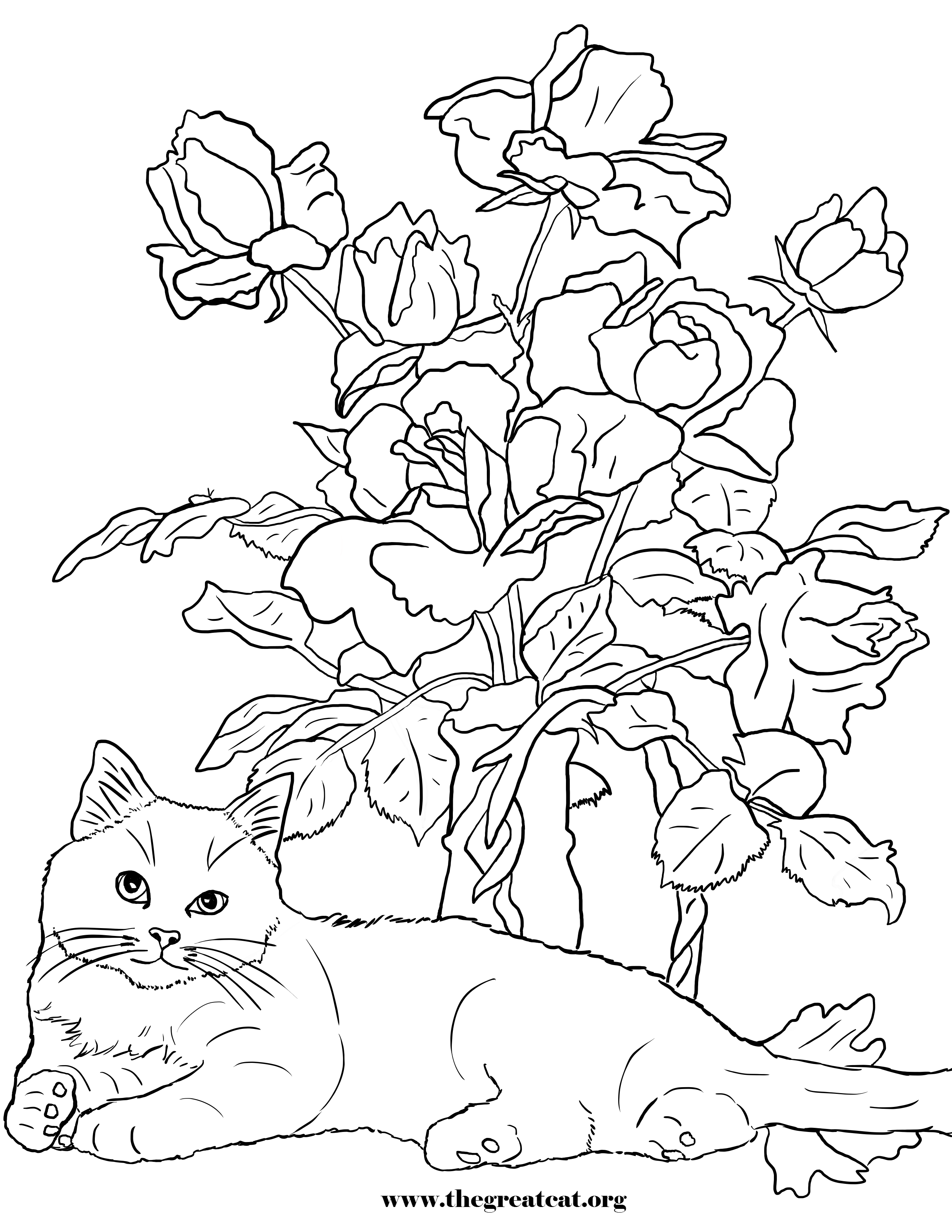 Cats And Flowers Coloring Book Cat Coloring Book Cat Coloring Page Coloring Pictures
