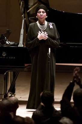 "Soprano Leontyne Price acknowledges the applause of the audience Sunday, Sept. 30, 2001 during New York's Carnegie Hall free ""Concert of Remembrance"", in honor of all the people affected by the tragic events on Sept. 11. Leontyne Price came out of retirement for the special event."