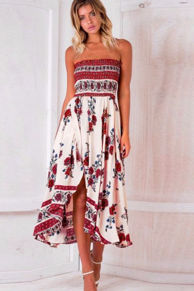 898068640b Off Shoulder Strapless Boho Floral Sundress Maxi Dress in 2019 ...