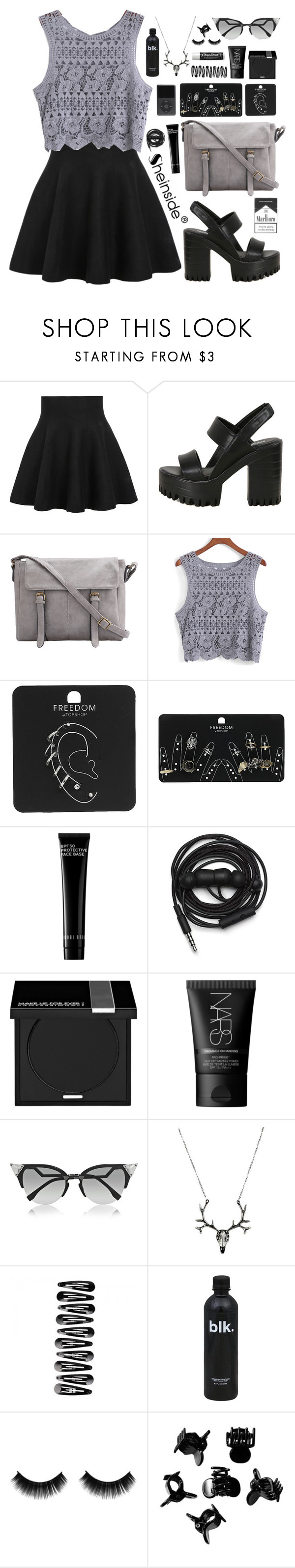 """""""SheIn 6"""" by scarlett-morwenna ❤ liked on Polyvore featuring Topshop, Bobbi Brown Cosmetics, Urbanears, MAKE UP FOR EVER, NARS Cosmetics, Fendi, Chapstick and H&M"""