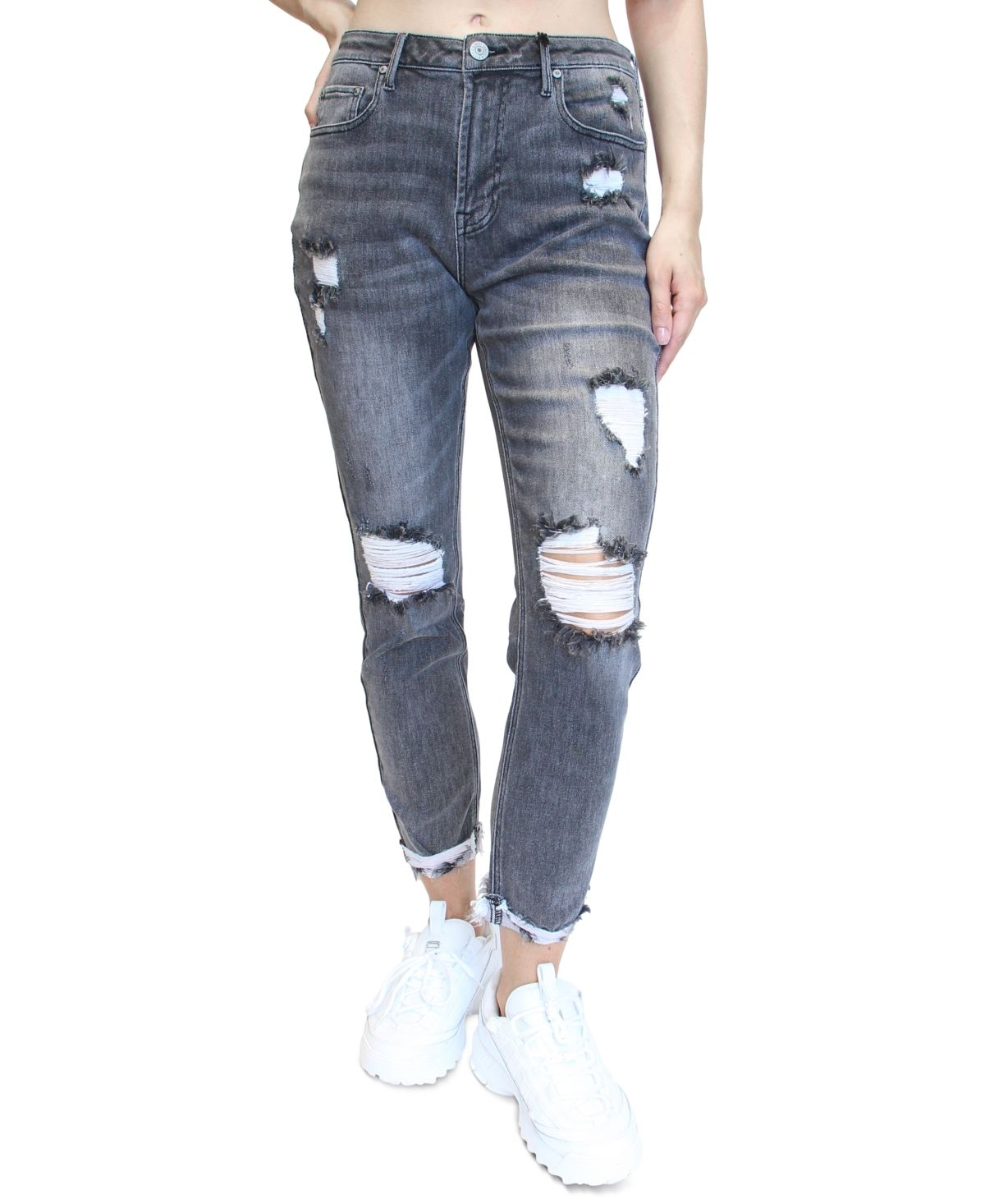 These high-rise mom jeans from Almost Famous are instantly cool with destructed details and a touch of stretch.