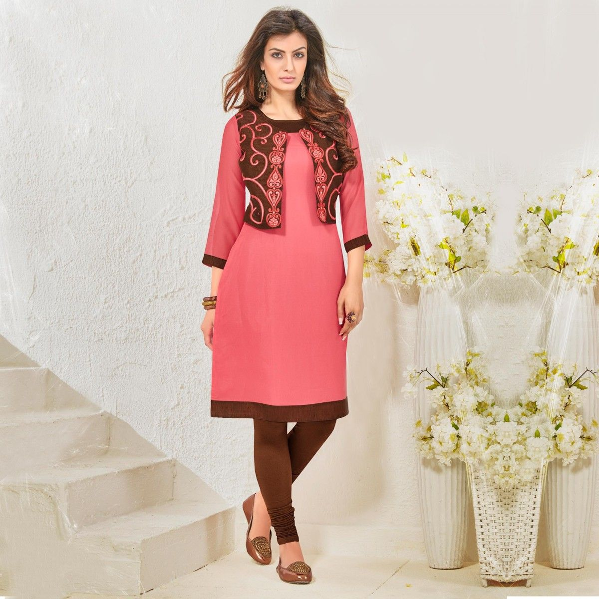 Buy Pink Jacket Style Georgette Kurti for womens online India, Best Prices,  Reviews -