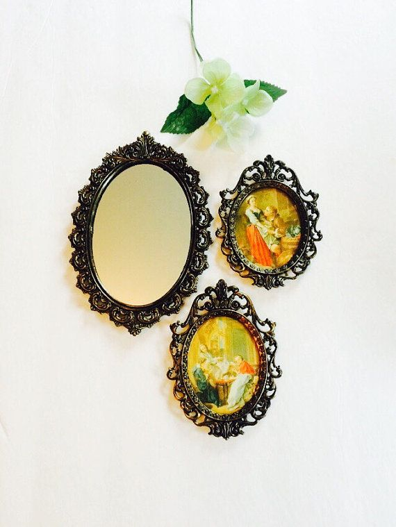 Brass Filigree Oval Frames & Mirror Set Made in Italy, Vintage Mid ...