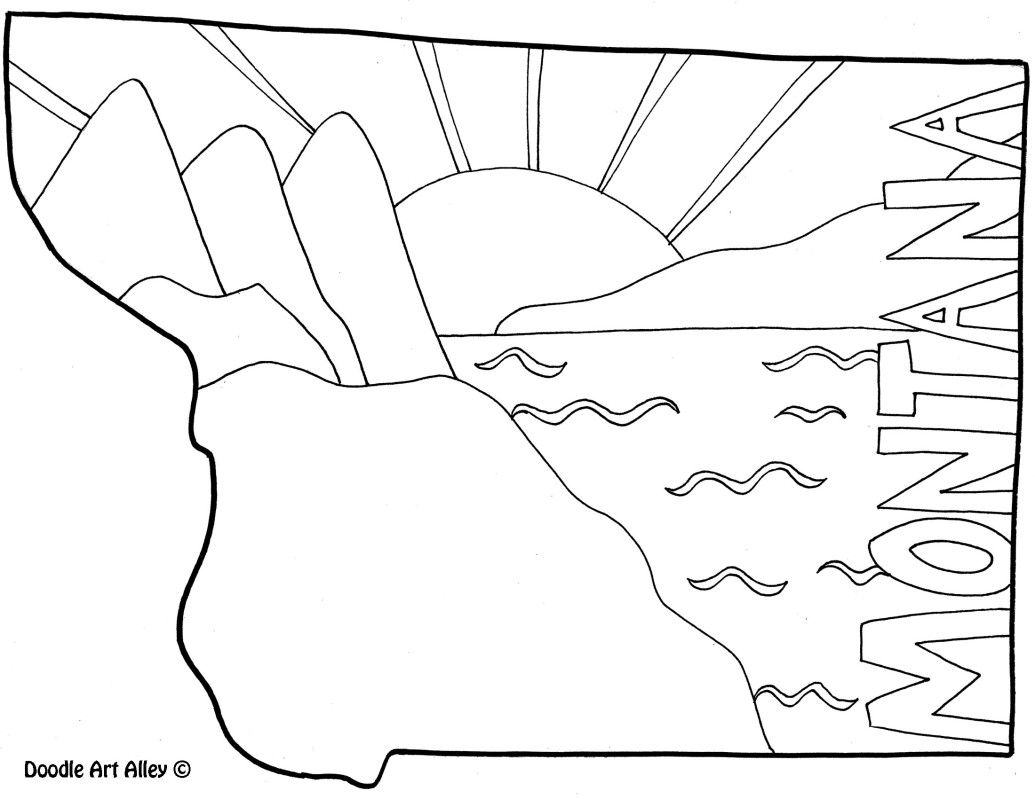 Coloring sheet united states map - United States Map Montana Coloring Page By Doodle Art Alley