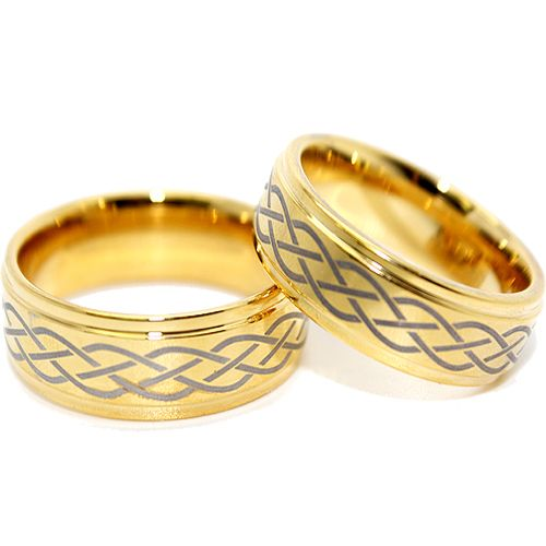 Infinity Wedding Bands Sets Tungsten Rings Gold Plated Celtic Design Set
