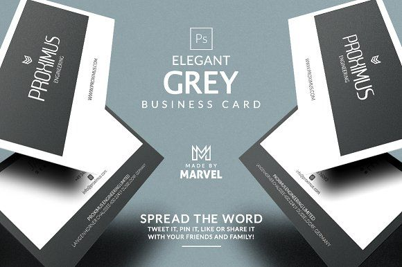 Elegant Grey Business Card By Marvel On Creativemarket  Business