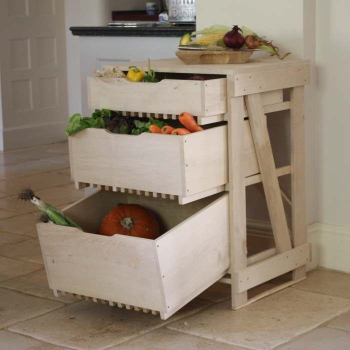 Roots Rack Kitchen Cart Pine: Home / Vegetable Rack